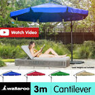 Wallaroo 3m CANTILEVER OUTDOOR UMBRELLA GARDEN PATIO MARKET SHADE Deck Metal