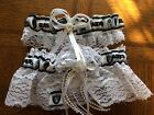 Oakland Raiders Football NFL Bridal Garter Set White Lace Trim Regular Plus size