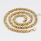 6MM Mens Chain Boys Flat Byzantine Silver Gold Black Stainless Steel Necklace