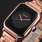 Fashion Women's Rose Gold Stainless Steel Rectangle Quartz Analog Wrist Watch