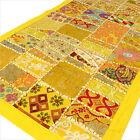 """22 X 80"""" YELLOW DECORATIVE PATCHWORK TAPESTRY WALL HANGING"""