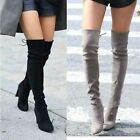 Womens Suede Over The Knee Boots Block High Heel Lace Thigh Stretch Shoes 1-11
