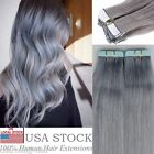Sliver Grey 18'' Seamless Tape In Skin Weft 100% Remy Human Hair Extensions USA