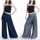 Women OL Trousers Solid Palazzo Wide Leg High Waist Long Loose Fit Casual Pants