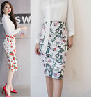 Women Fashion Print High Waist Fit Knee Length Straight Stretch OL Pencil Skirt
