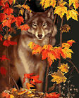 Wolf & Maple Leaves Needlepoint Canvas  H36