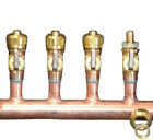 "1"" Copper Manifold 5/8"" Compresson STANDARD. PEX (W & W/O Ball Valves) 2-12 Loop"