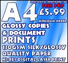A4 GLOSSY DOCUMENT / SMALL POSTER PRINTING / ADVERTISING 130GSM WHITE A4