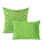 Green Decorative Embroidered Boho Sofa Pillow Bohemian Indian Cushion Cover Moro