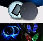 2pcs Solar Glow LED Coaster Car Cup Holder Bottle Drink Mat Trim Atmosphere Lamp