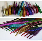 Coloured Metallic Sparkly Glitter Flat Shoelaces For Kids & Ladies Trainers Shoe