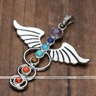 Angel Wing 7 Chakra Stone Beads Healing Reiki Pendant Jewelry for Necklace New