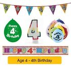 AGE 4 - Happy 4th Birthday Party Balloons, Banners & Decorations