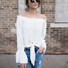 Summer Spring Women Off the Shoulder flare sleeve t shirt casual lady top blouse