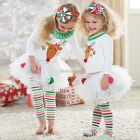 Newborn Baby Boys Girls Christmas Clothes Tops Romper Pants Hat Outfits Set N98B