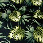 Hawaiian Print Cotton, Large Green Monstera Lau Lau (Leaves on Black)