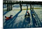 'Boys Sledging, Allestree Park, Derby' by Andrew Macara Painting Print on Canvas