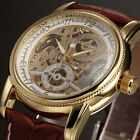 Men's Luxury Orkina Skeleton Leather Military Automatic Mechanical Wrist Watch