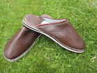MENS 100% MOROCCAN  LEATHER  *  BROWN  * SLIP ON'S * MULES 5 Sizes available