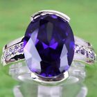 Women's Men's Oval & Round Cut Amethyst Gemstone Silver Ring Size 8 Free Ship