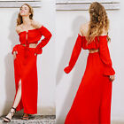 Two piece set beach summer vestido Vintage long dress Off shoulder chiffon maxi