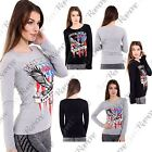 New Womens Long Sleeve Born Wild Eagle Live Free Slogan Print Graphic TShirt Top