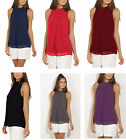 New Women Solid Plus Size Sleeveless Summer Solid Chiffon Tops Blouse Clothes