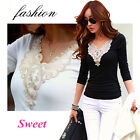 Hot New Fashion Elegant Women lady Slim Top Long Sleeve V-Neck T Shirt Blouse