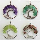 Natural Amethyst Lapis Lazuli Peridot Tourmaline Chip Beads Tree of Life Pendant