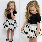 2pcs Toddler Kids Baby Girl Tops+Skirt Dress Party Wedding Clothes Set Outfit