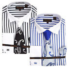 Bruno Conte Stripe Men's French Cuff Dress Shirt w/ Tie, Hanky, Cuff Links CS045