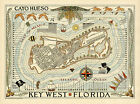 Cayo Hueso Key West Florida Map Vintage Travel Poster Art Print Repro