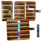 Vintage Stripes PU Leather Wallet Case Cover Sleeve Holder for Meizu Phones