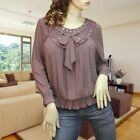 Light brown pleated embellishment long sleeve blouse top shirt #1656 Size XL