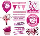 PERFECTLY PINK Girl Age 40 Happy 40th Birthday PARTY ITEMS Decorations Tableware