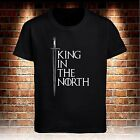 Black T-shirt Game Of Thrones King In The North Jon Snow Men's Tee Size S to 3XL