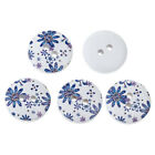 Blue on white Design Wooden Buttons. 15mm Sewing and card craft & projects
