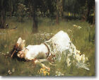 HUGE WATERHOUSE Ophelia in Grass Stretched Canvas Giclee Repro Print ALL SIZES