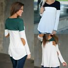 Women Lady Round neck Long Sleeve Shirt Casual Blouse Loose Cotton Tops T-Shirt