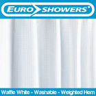 Euroshowers White Waffle Fabric Shower Curtain with Weighted Hem - VARIOUS SIZES