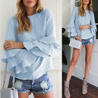 New Women Bell Long Sleeve Ruffled Flounce Casual Tunic Tops Shirt Loose Blouse