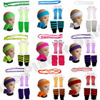 NEON FISHNET GLOVES LEGWARMERS HEADBAND WRISTBANDS BEADS 1980S FANCY DRESS