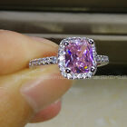 2ct Size5/6/7/8/9 10 Jewelry 925 silver filled Pink topaz Wedding Women Ring
