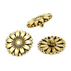 Pretty Gold tone Sunflower Metal Buttons 18mm. Ideal for sewing and crafts.