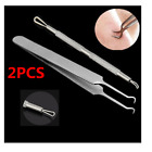 2pcs Bend Curved Facial Extractor Blackhead Acne Blemish Remover Tweezers Needle