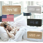 Digital LED Wood Wooden Desk Alarm Clock Timer Thermometer Snooze Voice Control@