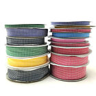 50 Yds Gingham Ribbon Woven Edge Check Ribbon 6mm 10mm 15mm 18mm 25mm 38mm Reel
