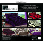 Luxury 7pcs Faux Silk Flock Quilted Bedspread Comforter Bedding Set King Size