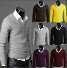 New Men Casual Slim Fit V-neck Knit Cardigan Pullover Jumpers Sweater Tops Hot