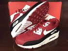 NIKE AIR MAX 90 ESSENTIAL GYM RED WHITE BLACK MEN SHOES 537384-610 US MEN 7.5